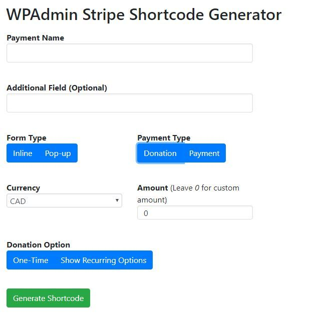 WPAdmin Stripe Payment Gateway WordPress Plugin